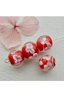 Klaashelmes - Lilled, punane (11mm)