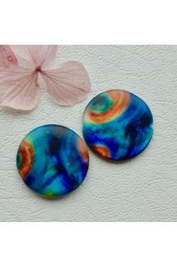 Helmes - värvitud pärlikarp, paabulind (25mm)
