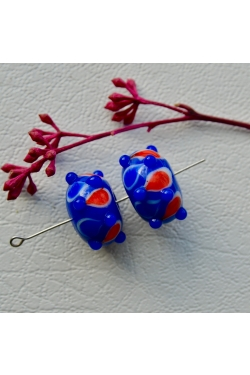Klaashelmes - Täpiline, sinine (19x12mm)