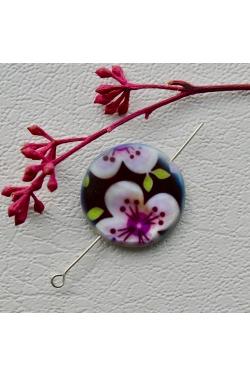 Helmes - Värvitud pärlikarp, lilleline (25mm)