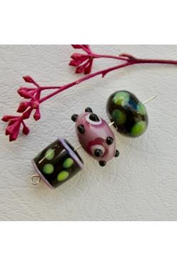 Klaashelmed - Roosa-rohelisekirjud (3tk)