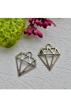 Ripats - Hõbedane teemant (18x15mm)
